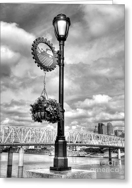 Steamboat Greeting Cards - Riverboat Lamp Bw Greeting Card by Mel Steinhauer