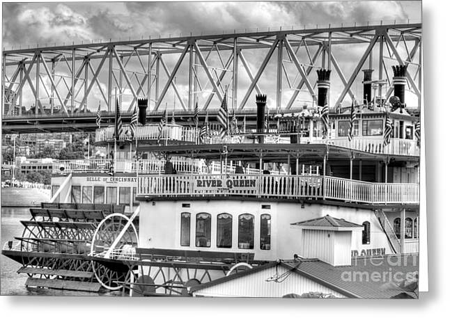 Steamboat Greeting Cards - Riverboats Of Cincinnati BW Greeting Card by Mel Steinhauer