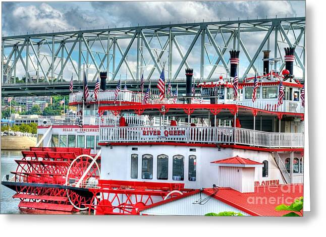 Riverboats Greeting Cards - Riverboats Of Cincinnati Greeting Card by Mel Steinhauer