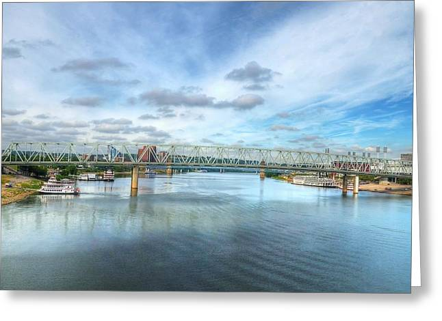 Steamboat Greeting Cards - Riverboats On The Ohio Greeting Card by Mel Steinhauer