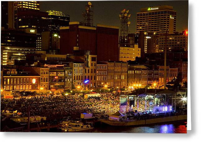 Riverfront Evening Concert Greeting Card by Diana Powell
