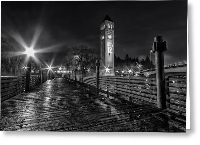 Spokane Greeting Cards - Riverfront Park Clocktower Seahawks Black and White Greeting Card by Mark Kiver