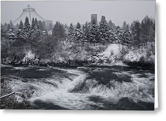 Clocktower Greeting Cards - Riverfront Park Winter Storm - Spokane Washington Greeting Card by Daniel Hagerman