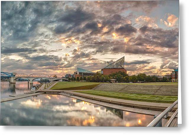 Chattanooga Greeting Cards - Riverfront Pier Sunrise  Greeting Card by Steven Llorca