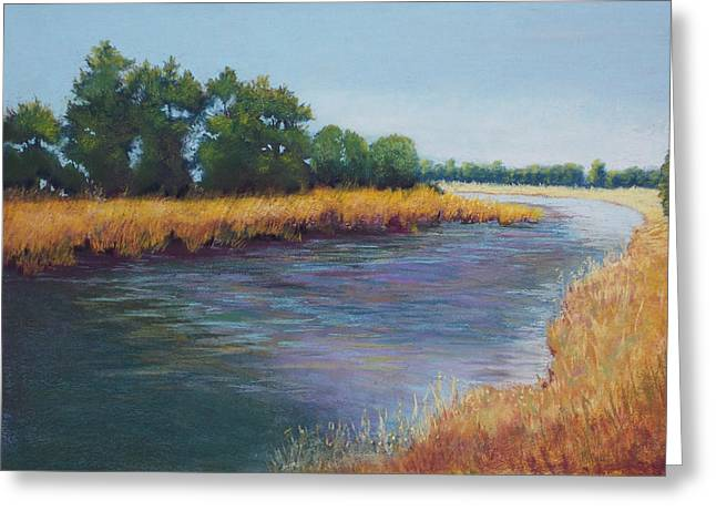 Wild Life Pastels Greeting Cards - Rivers Bend Greeting Card by Rosemarie Caffarelli