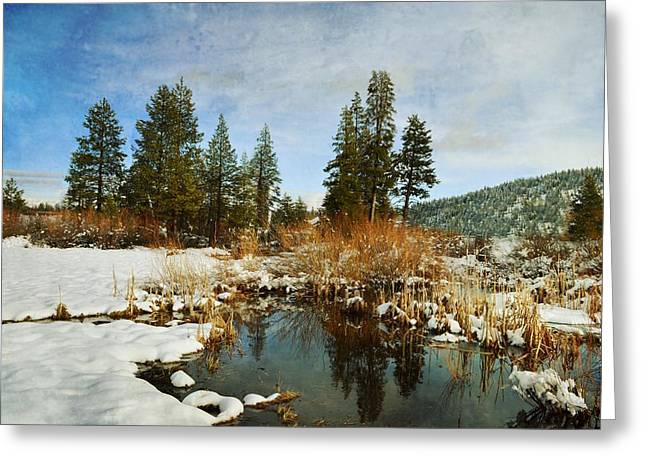 Winter Solstice Framed Prints Greeting Cards - Rivers Run Greeting Card by Leah Moore