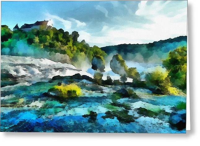 River. Clouds Greeting Cards - Riverscape Greeting Card by Ayse Deniz
