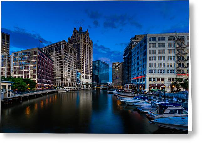 Riverwalk Greeting Cards - Riverside Blue Hour Greeting Card by Randy Scherkenbach