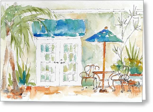 Riverside Courtyard Greeting Card by Pat Katz