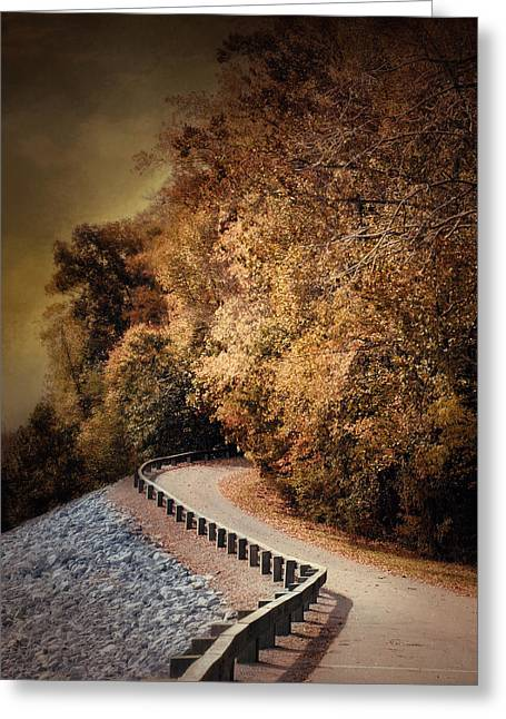 Fall Scenes Greeting Cards - Riverside Drive in Autumn - Landscape Greeting Card by Jai Johnson