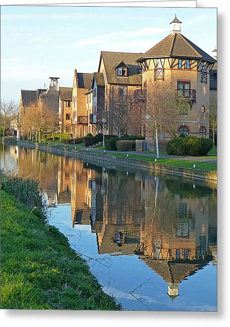 Reflection In Water Greeting Cards - Riverside Home Reflections Vertical Greeting Card by Gill Billington