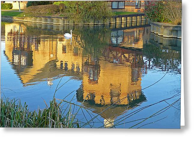 Reflections In River Greeting Cards - Riverside Homes Reflections Greeting Card by Gill Billington