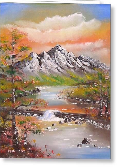 Mountains Sculptures Greeting Cards - Riverside Greeting Card by Marguerite Ujvary Taxner