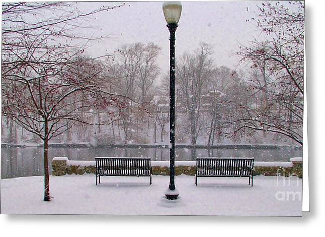 Indiana Scenes Greeting Cards - Riverside Overlook in Snowfall Greeting Card by Rory Cubel