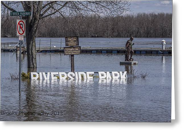 River Flooding Greeting Cards - Riverside Park No More Greeting Card by Paul Brooks