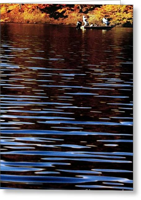 Row Boat Pyrography Greeting Cards - Riverside Greeting Card by Sherman
