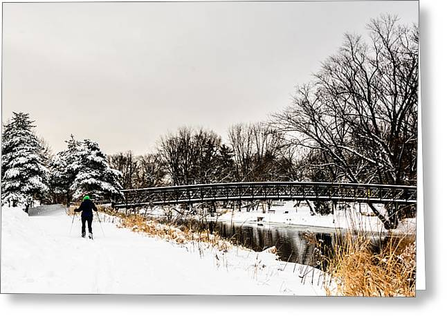 Riverwalk Greeting Cards - Riverside Skier Greeting Card by Randy Scherkenbach