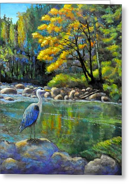 Rivers In The Fall Paintings Greeting Cards - Riverside Wonders with the Great Blue Heron Greeting Card by Eileen  Fong