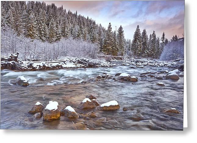 River Scenes Greeting Cards - Riverwalk at Sunrise Greeting Card by Darren  White