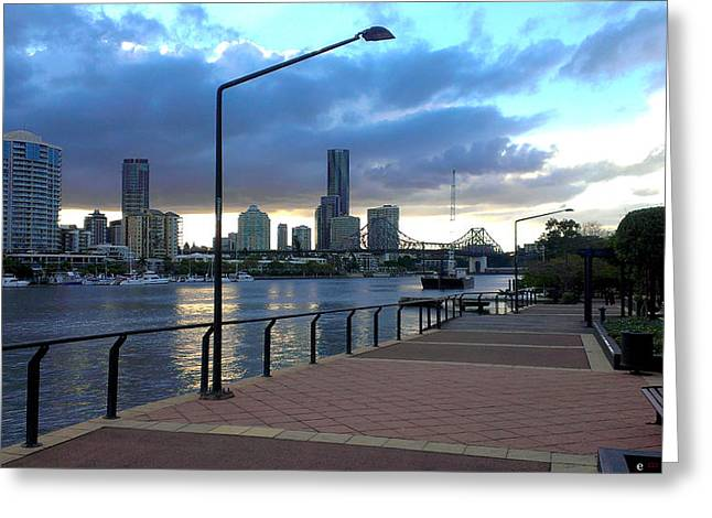 Riverwalk Greeting Card by Edwin Vincent