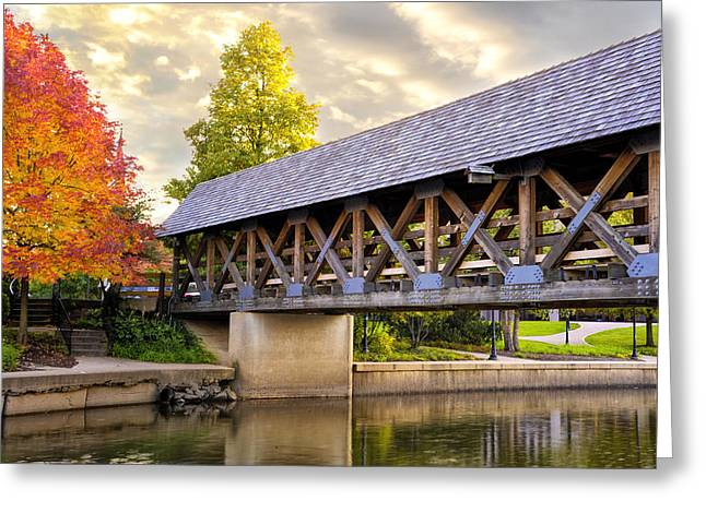 Fox River Greeting Cards - Riverwalk Footbridge Greeting Card by Anthony Citro