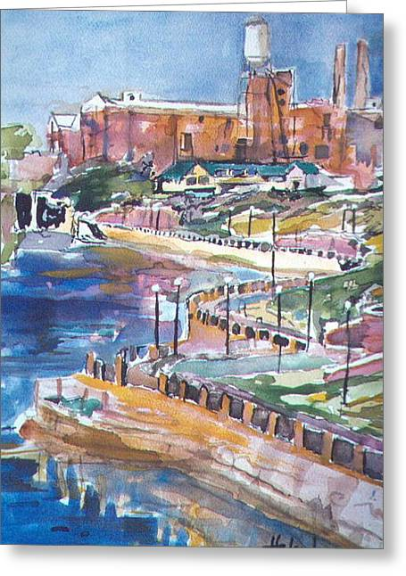 Convention Greeting Cards - Riverwalk Greeting Card by Helen Lee