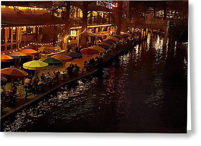 River Walk Greeting Cards - Riverwalk Night Greeting Card by Mary Jo Allen