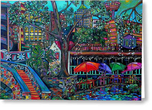 Umbrella Greeting Cards - Riverwalk Greeting Card by Patti Schermerhorn