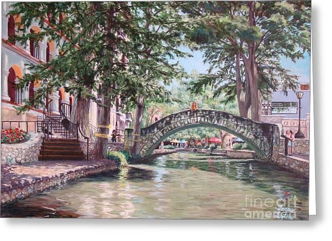 Riverwalk Paintings Greeting Cards - Riverwalk Stroll Greeting Card by Terrie Leyton