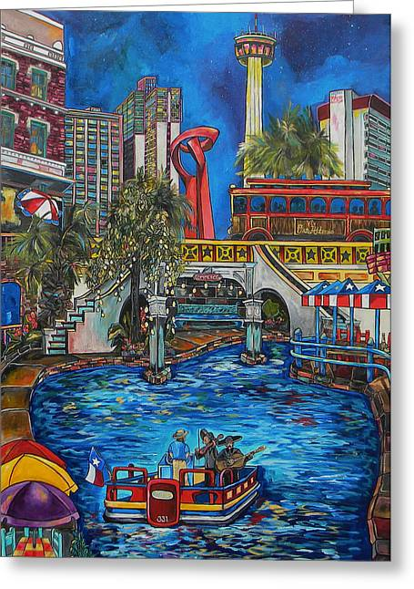 Riverwalk View Greeting Card by Patti Schermerhorn