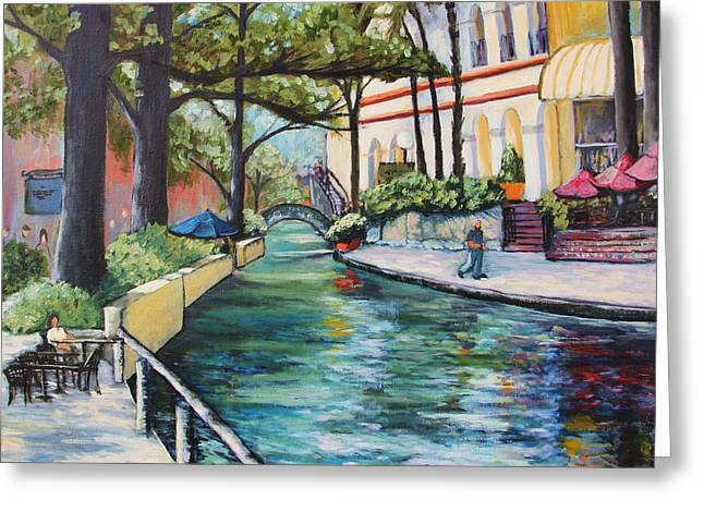 Park Scene Paintings Greeting Cards - Riverwalk Greeting Card by Wendy Delgado