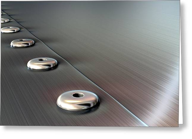 Rivets Greeting Cards - Rivets On Brushed Metal Perspective Greeting Card by Allan Swart