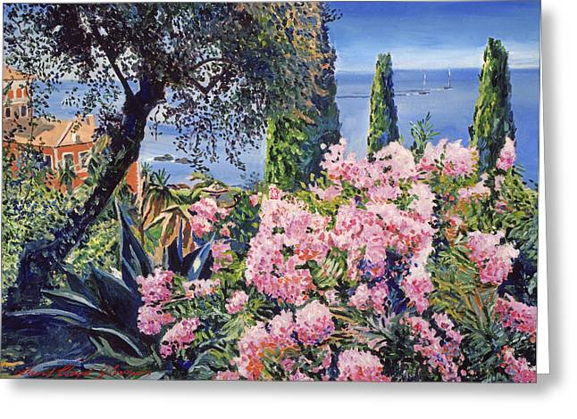 Europe Paintings Greeting Cards - Riviera Coast Greeting Card by David Lloyd Glover