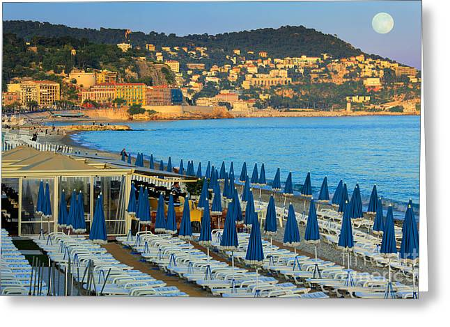 D Greeting Cards - Riviera Full Moon Greeting Card by Inge Johnsson
