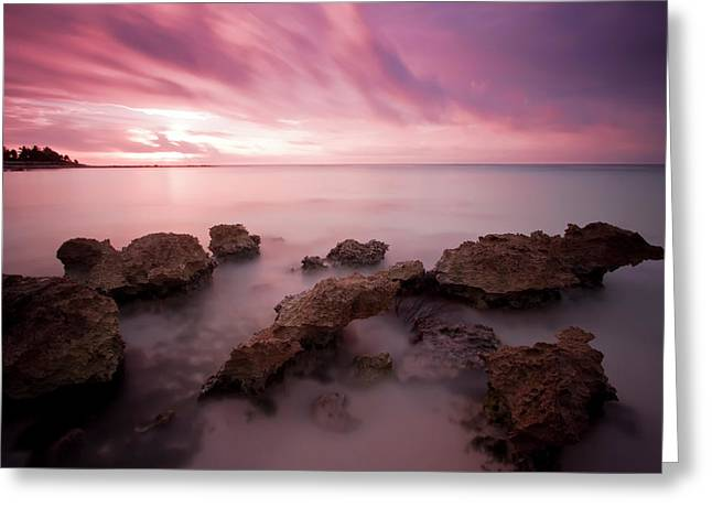 Riviera Greeting Cards - Riviera Maya Sunrise Greeting Card by Adam Romanowicz