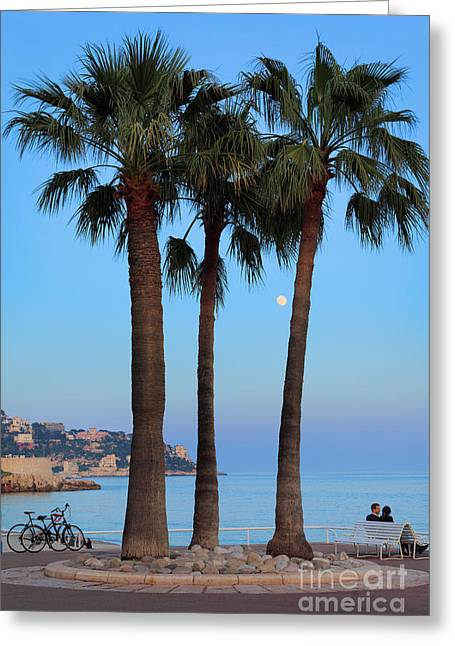Moon Beach Greeting Cards - Riviera Romance Greeting Card by Inge Johnsson
