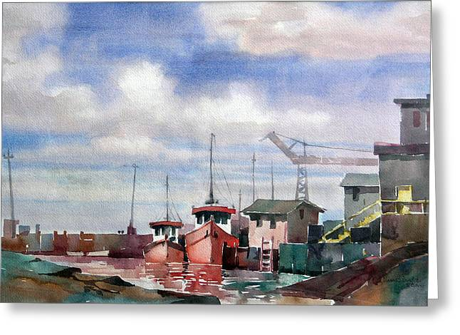 Riviere Paintings Greeting Cards - Riviere au tonnerre 15x22 Greeting Card by Jean-Marc Berube