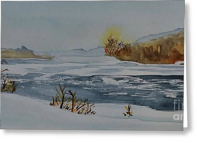 Riviere Paintings Greeting Cards - Riviere Lievre Sketch  Greeting Card by Lise PICHE