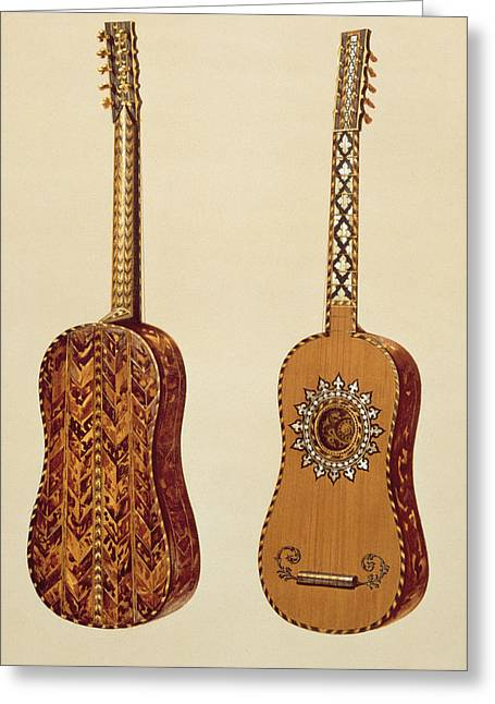 Pearls Drawings Greeting Cards - Rizzio Guitar, From Musical Instruments Greeting Card by Alfred James Hipkins