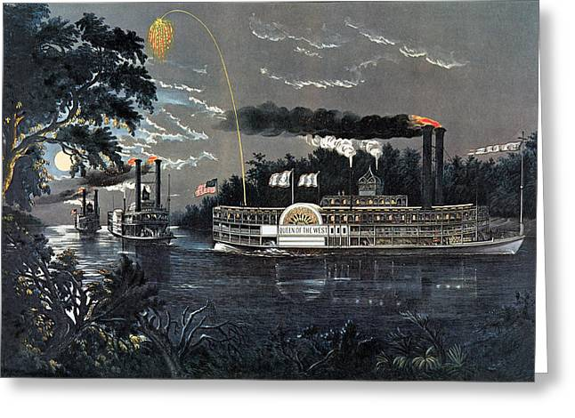 Rl 27835 Rounding A Bend On The Mississippi Steamboat Queen Of The West Litho Greeting Card by N. Currier
