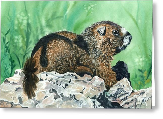 Rmbl Marmot Greeting Card by Barbara Jewell
