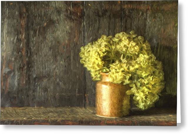 Rmonet Style Digital Painting Etro Style Still Life Of Dried Flowers In Vase Against Worn Woo Greeting Card by Matthew Gibson