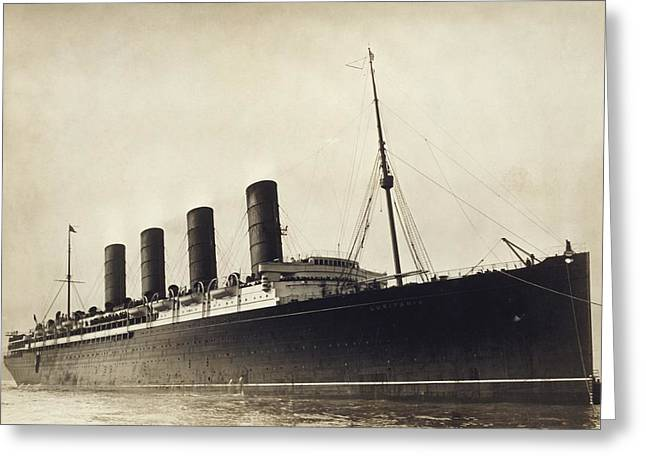 Trans-atlantic Greeting Cards - RMS Lusitania, early 20th century Greeting Card by Science Photo Library