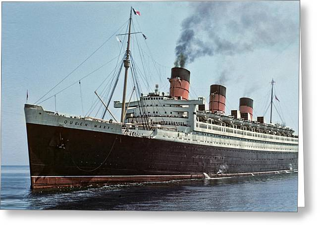Rms Queen Mary 1952 Greeting Card by Eric  Bjerke Sr