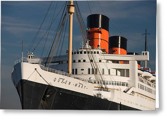 Ocean Liner Greeting Cards - Rms Queen Mary Cruise Ship At A Port Greeting Card by Panoramic Images