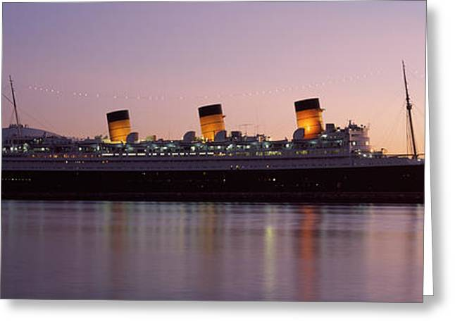 California Beach Image Greeting Cards - Rms Queen Mary In An Ocean, Long Beach Greeting Card by Panoramic Images