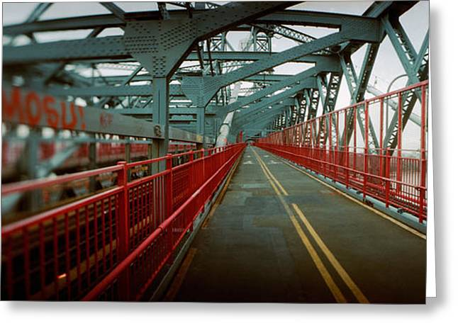 Double Yellow Line Greeting Cards - Road Across A Suspension Bridge Greeting Card by Panoramic Images
