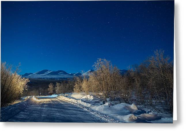 Temperature Greeting Cards - Road And Landscape, Cold Temperatures Greeting Card by Panoramic Images