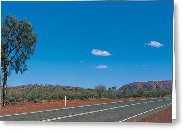 Roadway Greeting Cards - Road Ayers Rock Uluru-kata Tjuta Greeting Card by Panoramic Images