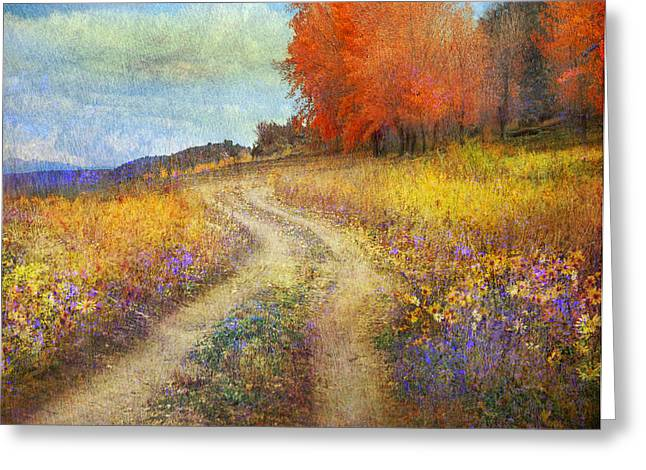 Willow Lake Greeting Cards - Road By The Lake With Flowers And Fall Colors2 Greeting Card by R christopher Vest